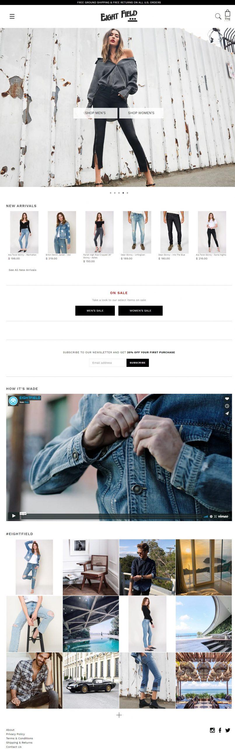 Eighfield Shopify Website