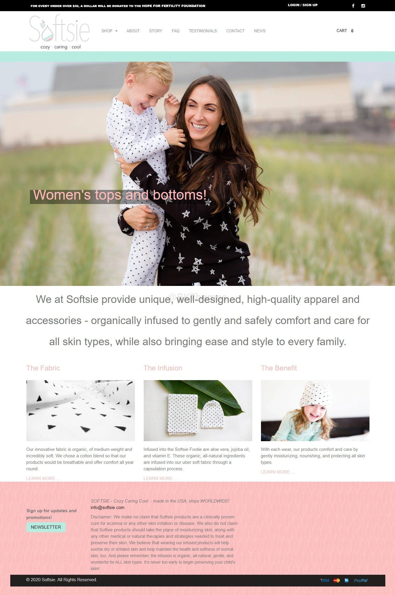 Softsie Shopify website